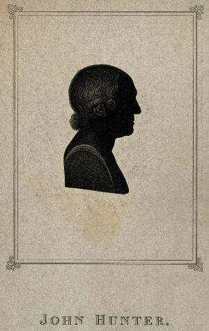 view John Hunter. Aquatint silhouette by G. Maile.