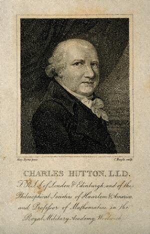 view Charles Hutton. Stipple engraving by C. Knight after Mary Byrne.