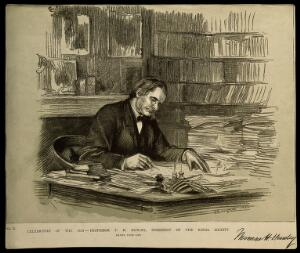 view Thomas Henry Huxley. Reproduction of drawing by T. B. Wirgman, 1882.