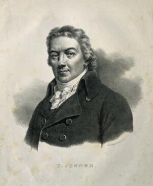 view Edward Jenner. Lithograph by P. R. Vignéron, 1824, after J. R. Smith, 1800.