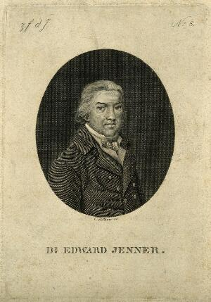 view Edward Jenner. Line engraving by C. Böhme after P. R. Vignéron after J. R. Smith, 1800.