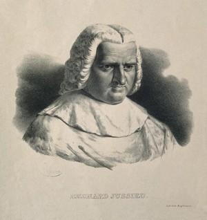 view Bernard de Jussieu. Lithograph by P. R. Vignéron.