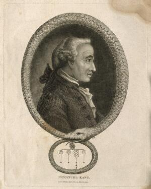 view Immanuel Kant. Stipple engraving by J. Chapman, 1812.