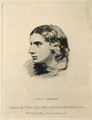 view John Keats. Reproduction of stipple engraving by H. Meyer, 1828, after J. Severn, 1816.