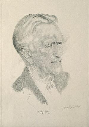 view Sir Geoffrey Langdon Keynes. Reproduction after a pencil drawing by G. Shaw, 1957.