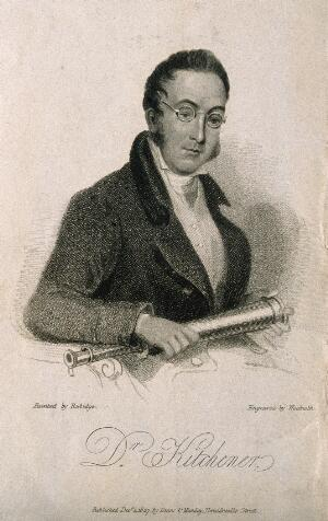 view William Kitchiner. Stipple engraving by T. Woolnoth, 1827, after W. Rubidge.