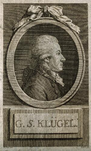 view Georg Simon Kluegel. Line engraving by G. A. Liebe, 1790, after J. Rieter.