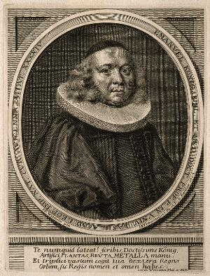 view Emanuel Koenig. Line engraving by J. J. Thourneyser, senior & junior, 1703, after J. F. Wettstein.