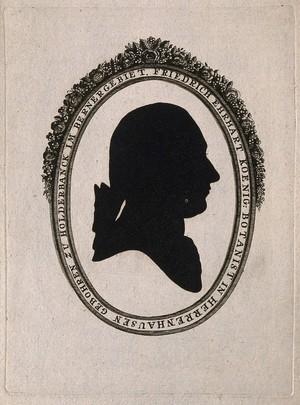 view Friedrich Erhart Koenig. Aquatint silhouette.
