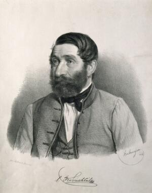 view Pal Kovacs. Lithograph by Strohmeyer, 1862.