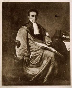 view René Théophile Hyacinthe Laënnec. Reproduction of painting.