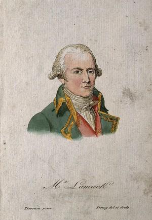 view Jean Baptiste Pierre Antoine de Monet Lamarck. Coloured etching by J. M. Frémy after C. Thévenin, 1801.