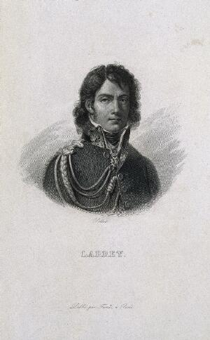 view Dominique Jean, Baron Larrey. Line engraving by Pollet.