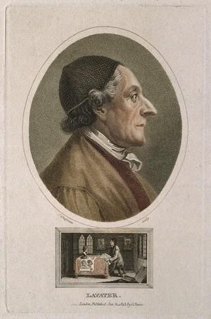 view Johann Caspar Lavater. Coloured stipple engraving by J. Chapman, 1813.
