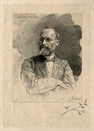 view Charles Louis Alphonse Laveran. Etching by E. Boilvin, 1894.