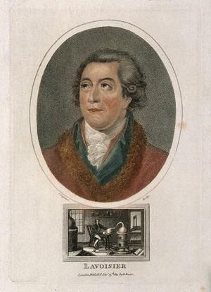 view Antoine Laurent Lavoisier. Coloured stipple engraving by J. Chapman, 1812, after J. L. David.