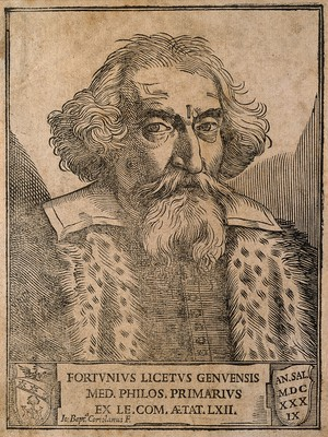 view Fortunius Licetus. Woodcut by J. B. Coriolanus, 1639.