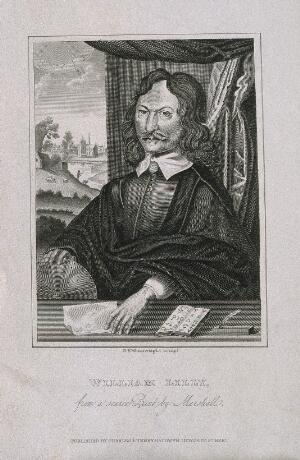 view William Lilly. Line engraving by G. P. Wainwright, 1822, after W. Marshall, 1659.