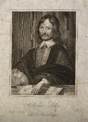 view William Lilly. Stipple engraving by S. Freeman after W. Marshall, 1659.