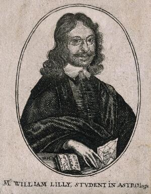 view William Lilly. Etching by W. Hollar.