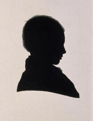 view Joseph Lister, 1st Baron Lister. Ink silhouette by J. J. Lister, 1840.