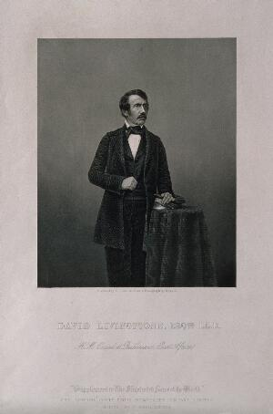 view David Livingstone. Stipple engraving by D. J. Pound, 1858, after J. Mayall.