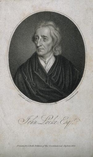 view John Locke. Stipple engraving by T. Cheesman, 1814, after Sir G. Kneller, 1697.