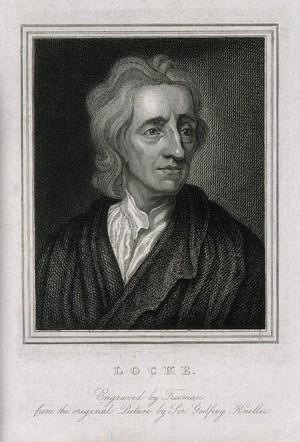 view John Locke. Stipple engraving by S. Freeman, 1825, after Sir G. Kneller.