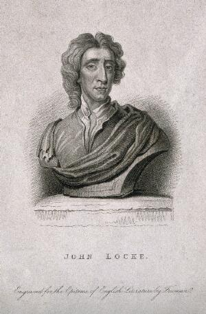 view John Locke. Stipple engraving by S. Freeman, 1831, after J. M. Rysbrack [?].