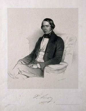 view Eduard Lumpe. Lithograph by E. Kaiser, 1855.