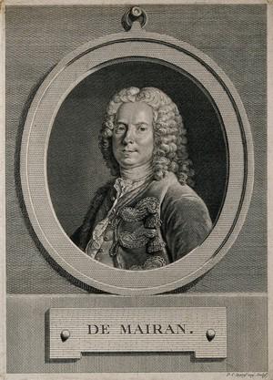 view Jean-Jacques Dortous de Mairan. Line engraving by P.C. Ingouf, 1771, after L. Tocquet.