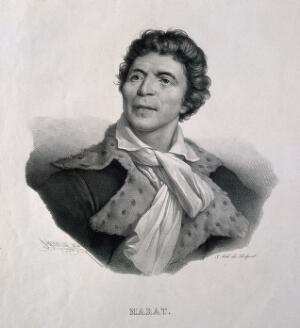 view Jean Paul Marat. Lithograph by H. Grévedon, 1824, after J. Boze, 1793.