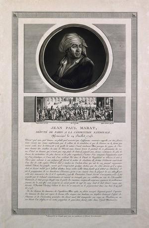 view Jean Paul Marat. Mezzotint by C. F. Levachez & J. Duplessi-Bertaux, 1797.