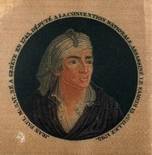 view Jean Paul Marat. Colour stipple engraving (?) on silk after F. Bonneville.