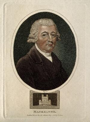 view Nevil Maskelyne. Coloured stipple engraving by R. Page, 1815.