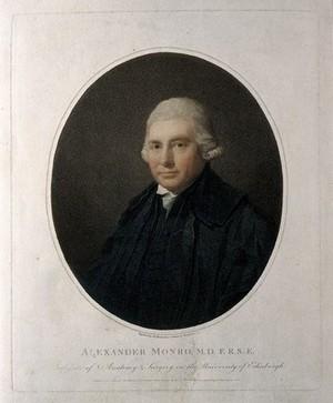 view Alexander Monro. Coloured stipple engraving by J. Heath, 1800, after H. Raeburn.