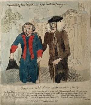 view Messenger Monsey. Coloured etching by J. Gillray, 1789.