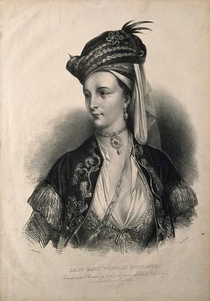 view Lady Mary Wortley Montagu. Lithograph by A. Devéria after C. F. Zincke.