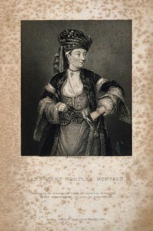view Lady Mary Wortley Montagu. Stipple engraving by W. Greatbach, 1844, after C. F. Zincke.