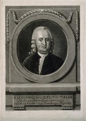 view Gottfried Wilhelm Mueller. Line engraving by C.G. Geyser after F. L. Hauck.