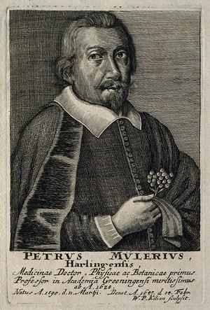 view Petrus Mulerius. Line engraving by W. P. Kilian.