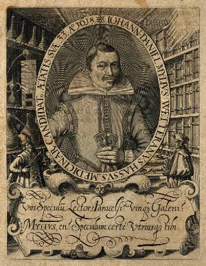 view Johannes Daniel Mylius. Line engraving, 1620.