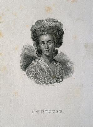 view Suzanne Necker [Curchod]. Line engraving by A. Blanchard.