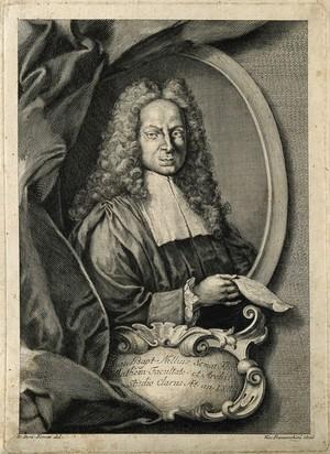 view Giovanni Baptista Nelli. Line engraving by V. Franceschini after J. D. Ferretti.