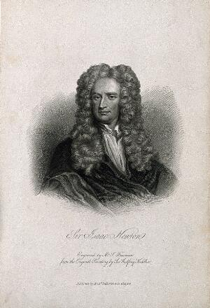 view Sir Isaac Newton. Stipple engraving by S. Freeman after Sir G. Kneller, 1702.