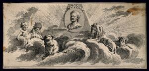 view Sir Isaac Newton. Etching by L. Cars after F. Boucher.