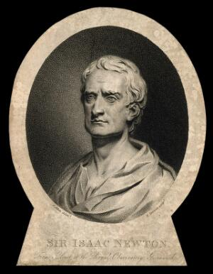 view Sir Isaac Newton. Stipple engraving by E. Scriven after L. Allen after L. F. Roubiliac.