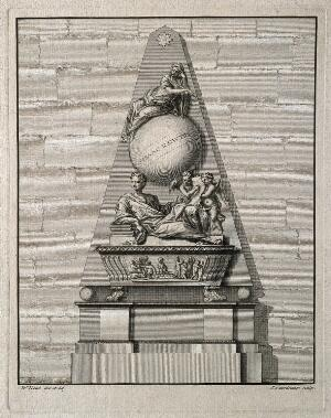 view Sir Isaac Newton: monument. Line engraving by P. Fourdrinier after W. Kent and M. Rysbrack.