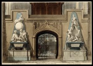 view Westminster Abbey: monuments of Sir Isaac Newton and the first Earl of Stanhope. Coloured aquatint by A. Pugin and T. Rowlandson [?] after W. Kent and M. Rysbrack.