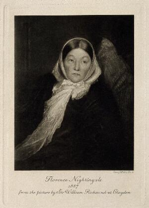 view Florence Nightingale. Photogravure by E. Walker, 1887, after Sir W. Richmond.